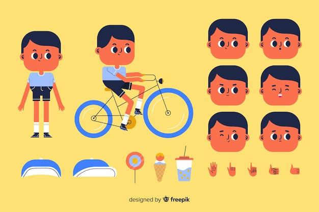 Personagem de desenho animado garoto para design de movimento Vetor grátis