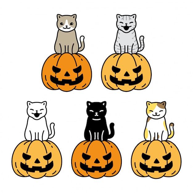 Personagem de desenho animado gato gatinho halloween abóbora chita Vetor Premium