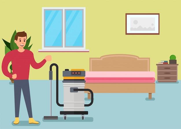 Personagem de desenho animado homem limpando o chão no quarto Vetor Premium