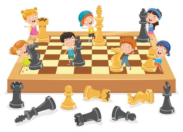 Personagem de desenho animado, jogando jogo de xadrez Vetor Premium
