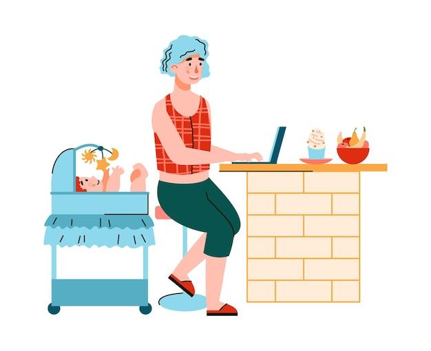 Personagem de desenho animado jovem mãe trabalhando remotamente em casa cuidando de seu bebê, ilustração plana dos desenhos animados. conceito de home office, freelance e trabalho remoto. Vetor Premium