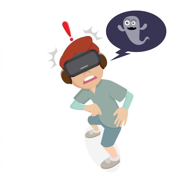 Personagem de desenho animado, meninos usando óculos vr e jogos de fantasma Vetor Premium