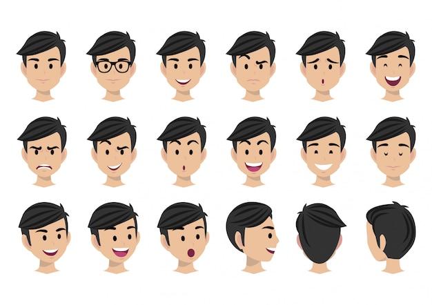 Personagem de desenho animado para animação e conjunto de vetores de cabeça de homem Vetor Premium