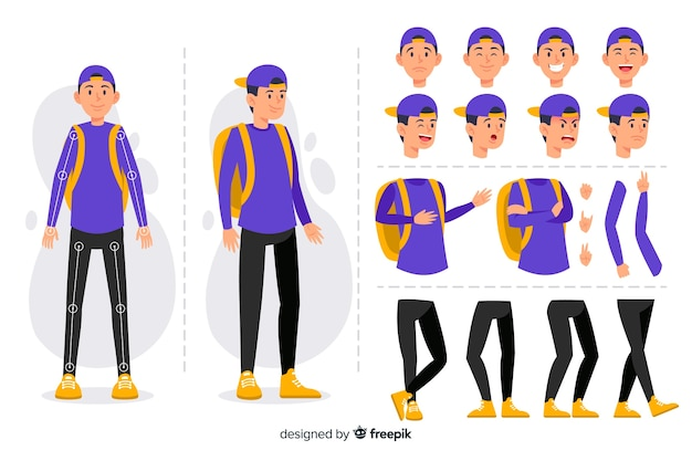 Personagem de desenho animado para design de movimento Vetor grátis