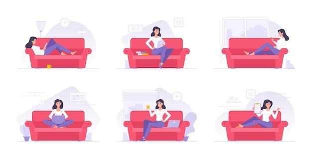 Personagem de desenho animado passando um tempo em casa ilustrações planas Vetor Premium