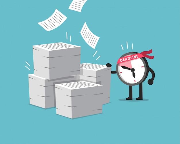 Personagem de desenho animado prazo relógio personagem com muita papelada Vetor Premium