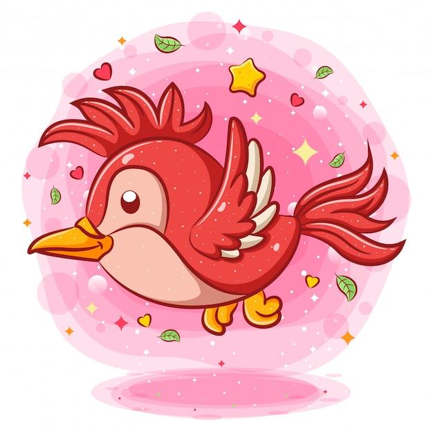 Personagem de desenho animado voador pássaro vermelho Vetor Premium