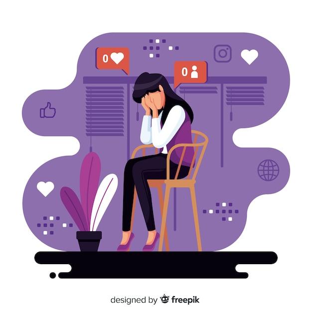 Personagem de design plano sofrendo de influência da mídia social Vetor grátis