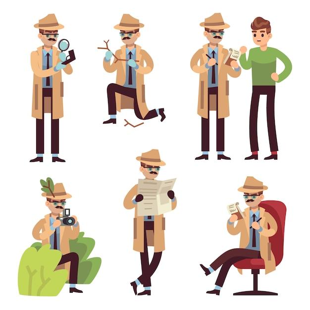 Personagem de detetive. inspetor de polícia olhando crime fotografar caso pesquisa agente secreto resolver espião detectar desenhos animados isolado Vetor Premium