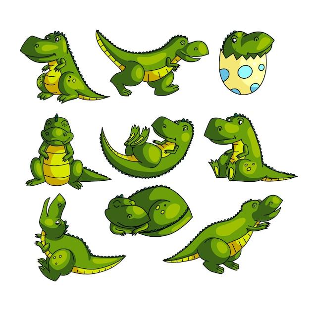 Personagem de dino verde colorido bonito em poses diferentes Vetor Premium