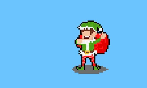 Personagem de duende do natal dos desenhos animados de pixel art segurando uma bolsa vermelha. Vetor Premium