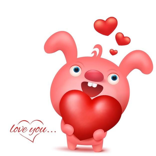 Personagem de emoji coelho rosa com coração. cartão de convite de dia dos namorados Vetor Premium