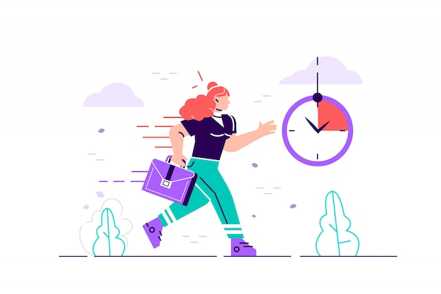 Personagem de empresária correndo com as costas em chamas. prazo e hora do rush. ilustração de design moderno estilo simples para página da web, cartões, cartaz, mídia social. Vetor Premium