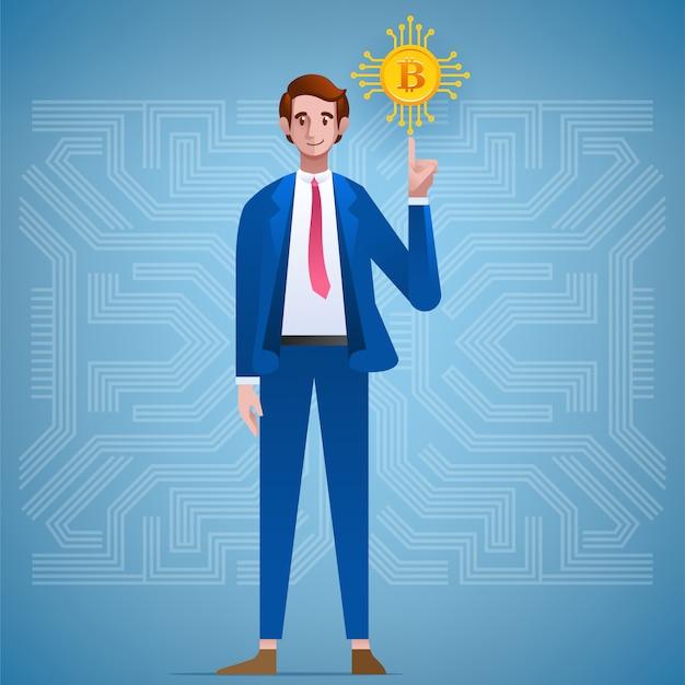 Personagem de empresário e bitcoin crypto currency. Vetor Premium