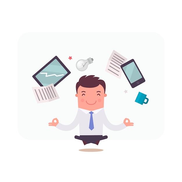 Personagem de empresário meditando Vetor grátis