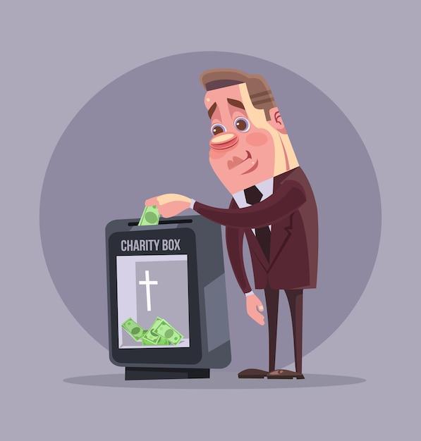 Personagem de empresário político rico fazendo doação. ilustração plana dos desenhos animados Vetor Premium