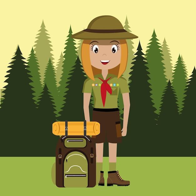 Personagem de escoteiro com design de ícone do saco de viagem isolado Vetor Premium
