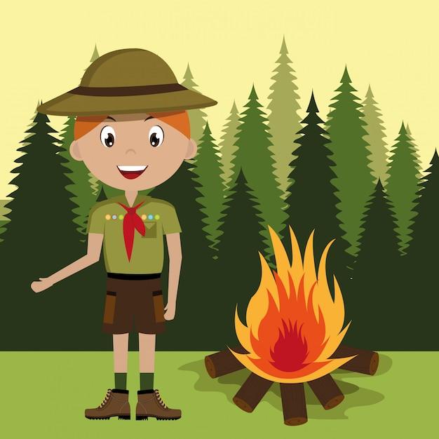 Personagem de escoteiro com fogueira isolado ícone do design Vetor Premium