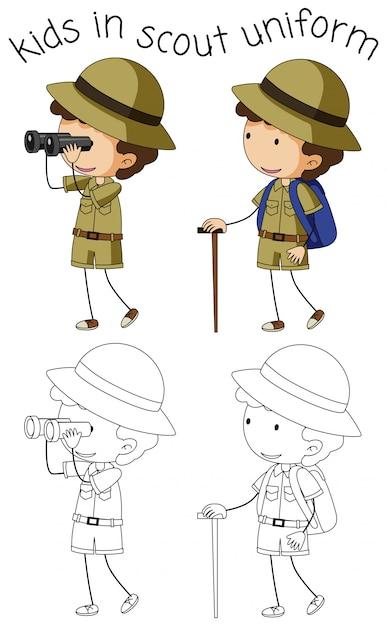 Personagem de escoteiro em fundo branco Vetor grátis