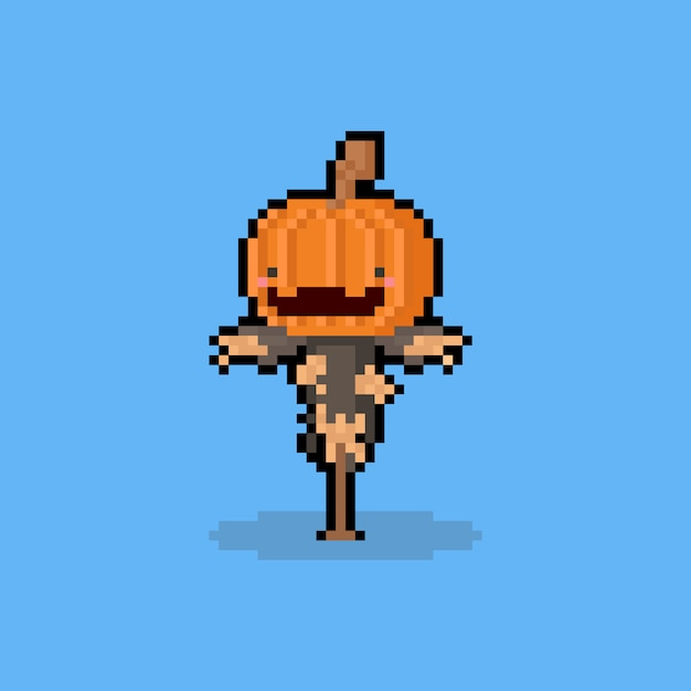 Personagem de espantalho de cabeça de abóbora bonito cartoon arte pixel Vetor Premium
