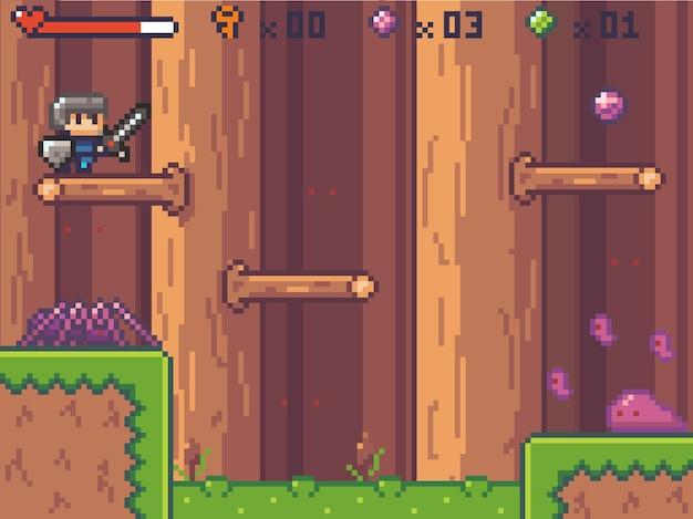 Personagem de estilo pixel art no jogo de arcade Vetor Premium