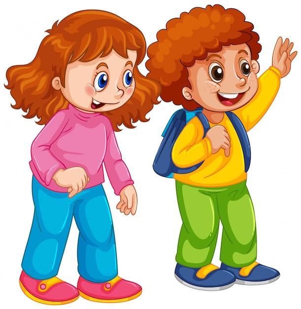 Personagem de estudante menino e menina Vetor grátis