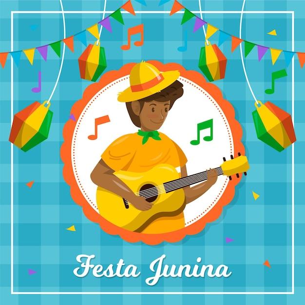 Personagem de festa junina design plano tocando violão Vetor grátis
