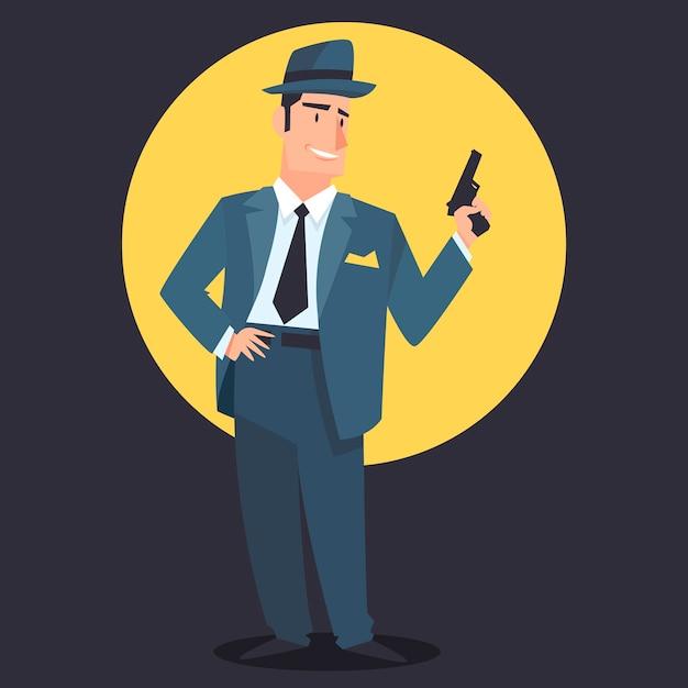 Personagem de gangster misterioso com arma Vetor grátis