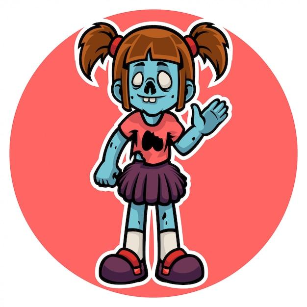 Personagem de garota zumbi engraçado do halloween dizer olá Vetor Premium
