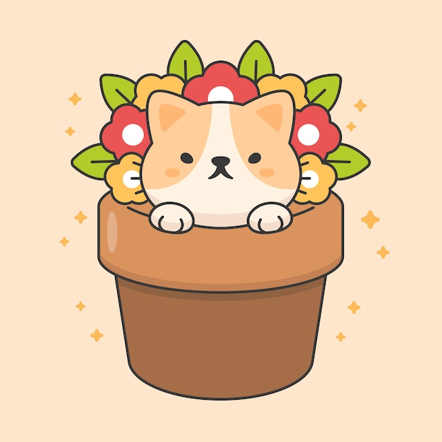 Personagem de gato bonito em um vaso de flores Vetor Premium