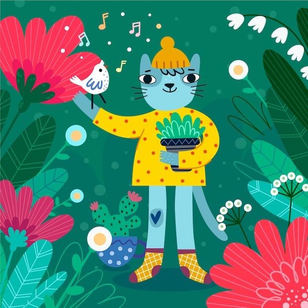 Personagem de gato com fundo de primavera plana de chapéu Vetor grátis