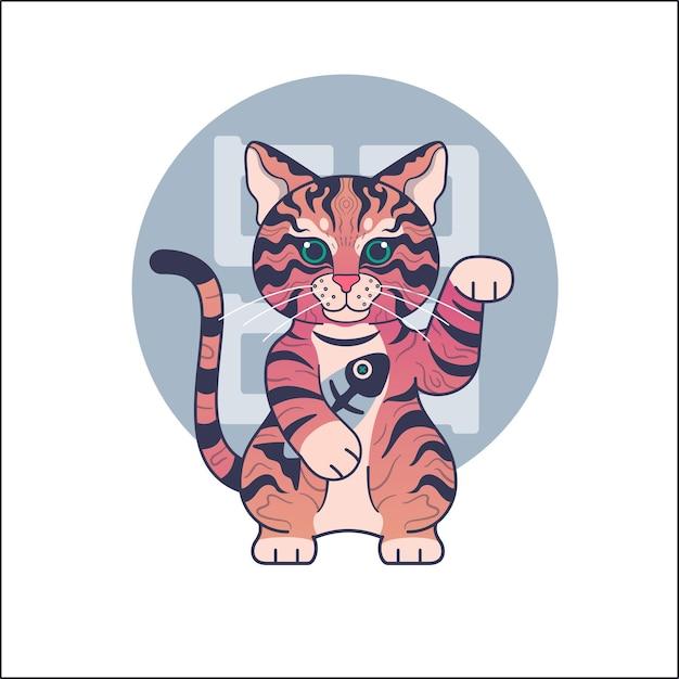 Personagem de gato fofo com arte em estilo maneki neko Vetor Premium