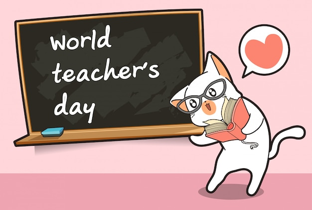 Personagem de gato professor de kawaii e um quadro negro Vetor Premium