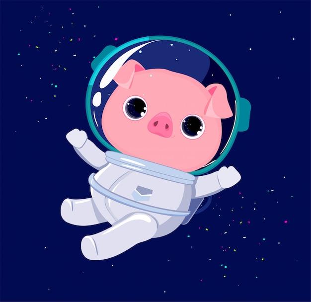 Personagem de giro porco astronauta Vetor Premium