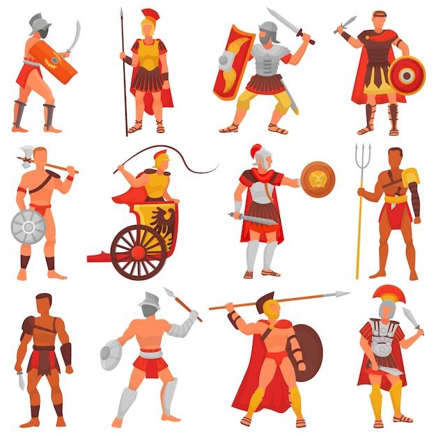 Personagem de guerreiro romano de vetor de gladiador na armadura com espada ou arma e escudo no conjunto de ilustração de roma antiga de homem grego warrio lutando na guerra isolada Vetor Premium