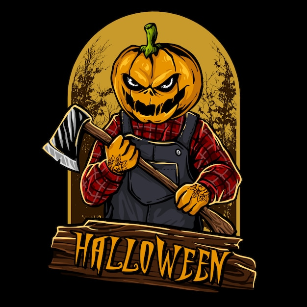 Personagem de halloween cabeça de abóbora Vetor Premium