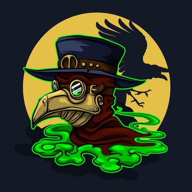 Personagem de halloween do médico stefmpunk da peste Vetor Premium