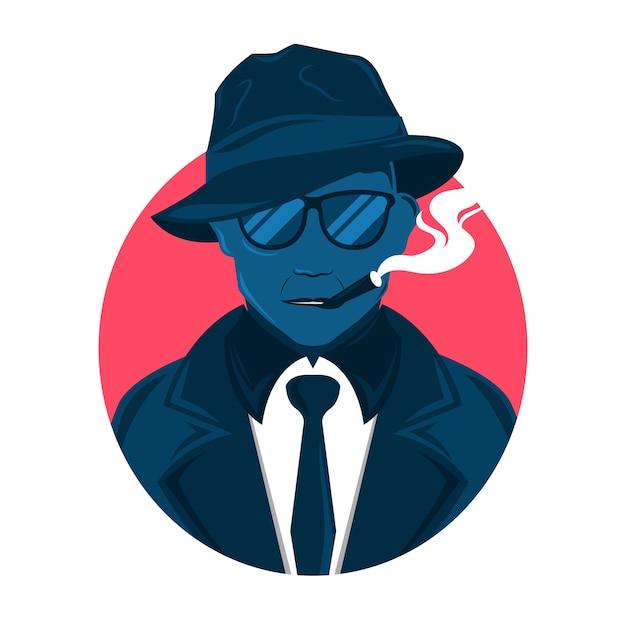 Personagem de homem da máfia com óculos e charuto Vetor Premium