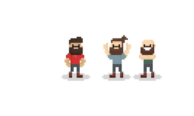 Personagem de homem de barba de pixel Vetor Premium