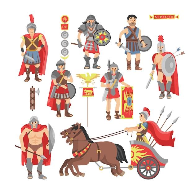 Personagem de homem de guerreiro romano de vetor de gladiador na armadura com espada ou arma e escudo no conjunto histórico de ilustração de roma antiga do povo grego warrio lutando na guerra isolada no fundo branco Vetor Premium