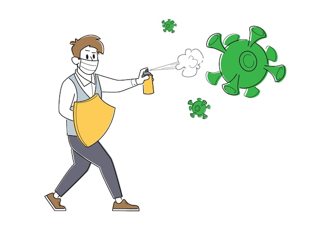 Personagem de homem de negócios com máscara de médico com escudo e spray na tentativa de lutar contra um ataque de células de vírus gigantescas de covid 19 Vetor Premium