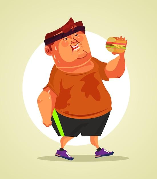 Personagem de homem gordo sorridente feliz comendo hambúrguer após a atividade de esporte cardio. ilustração em vetor plana dos desenhos animados Vetor Premium