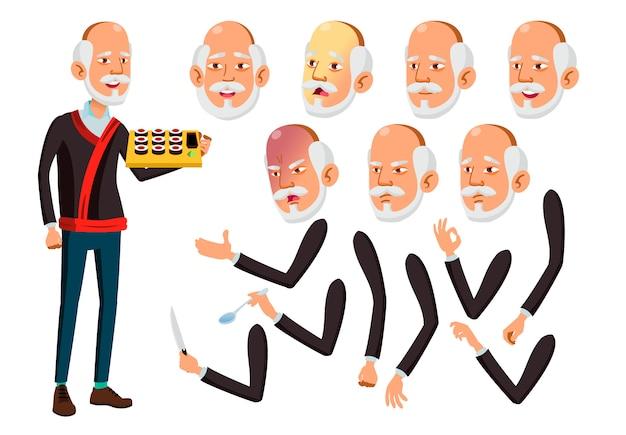 Personagem de homem velho. asiático. construtor de criação para animação. emoções de rosto, mãos. Vetor Premium