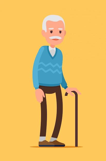 Personagem de homem velho. um homem idoso com bengala. Vetor Premium