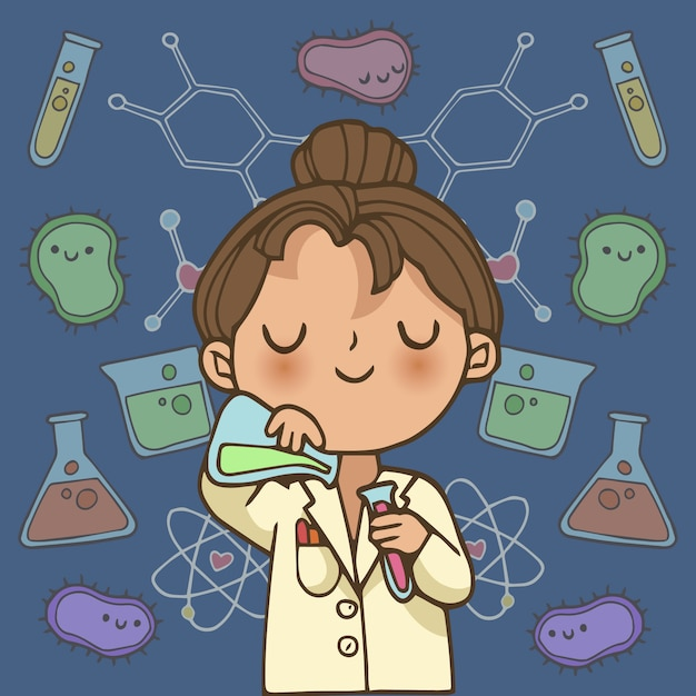 Personagem de ilustração de cientista feminina Vetor grátis