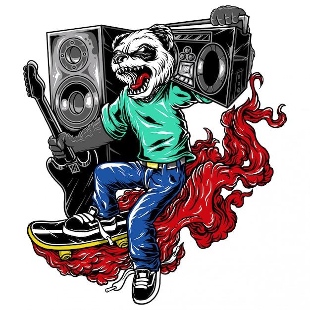 Personagem de ilustração skate música panda Vetor Premium