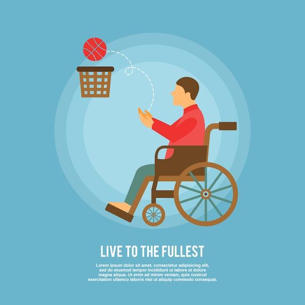 Personagem de jogador de basquete em cadeira de rodas com modelo de texto Vetor grátis