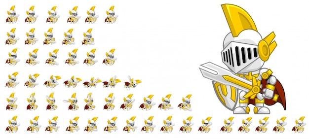 Personagem de jogo de cavaleiro branco Vetor Premium