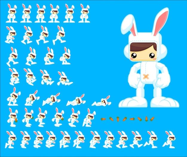 Personagem de jogo de coelho Vetor Premium
