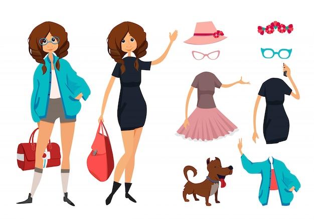 Personagem de jovem hippie com óculos. roupas estilo casual Vetor Premium